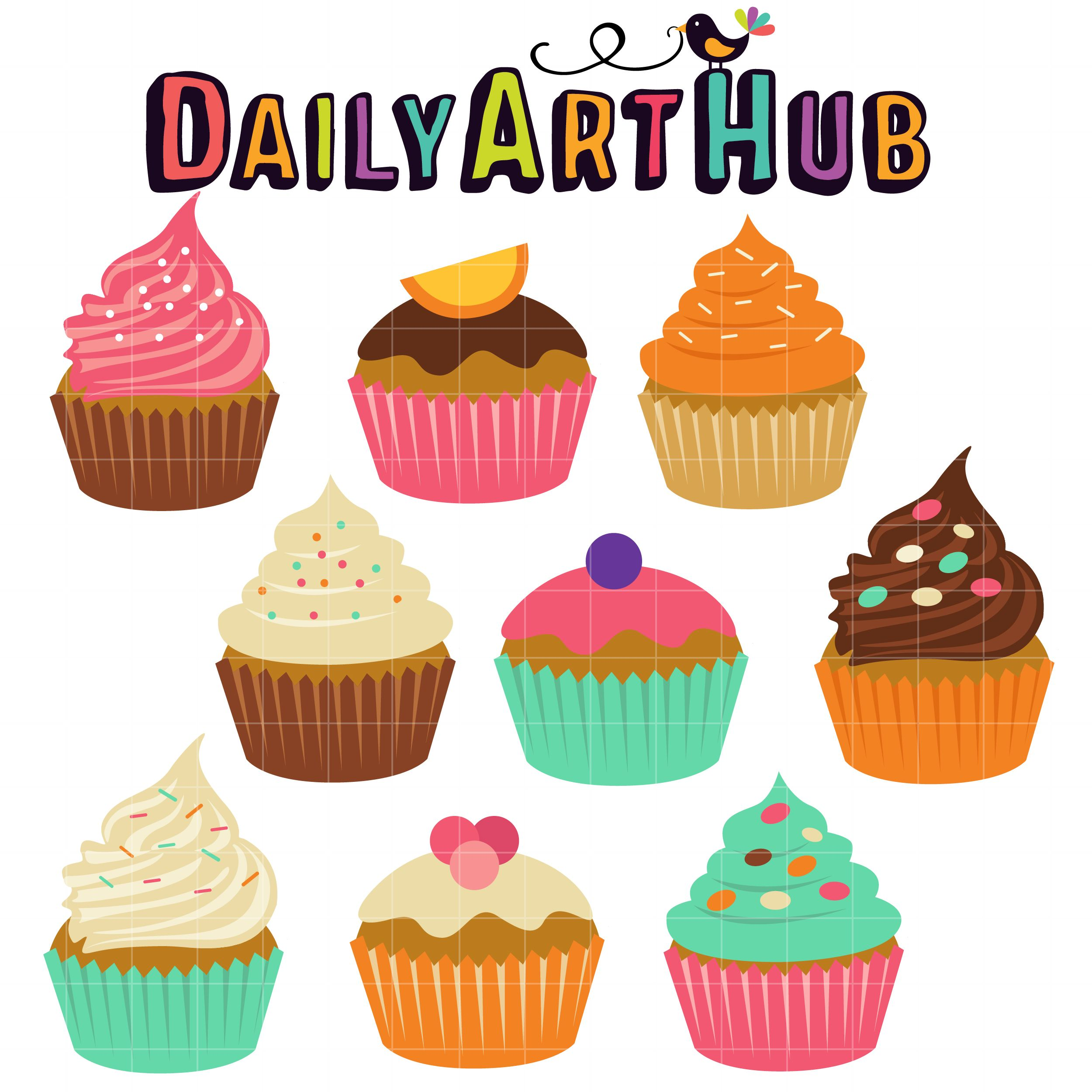 hight resolution of free sweet cupcakes clip art set