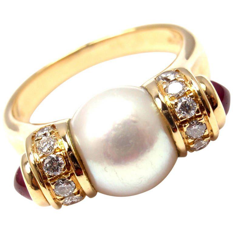 bulgari pearl ruby diamond yellow gold ring