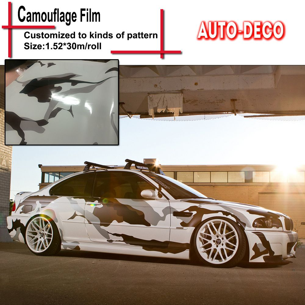 Free Shipping Buy Best Black White Snow Camo Vinyl Wrap