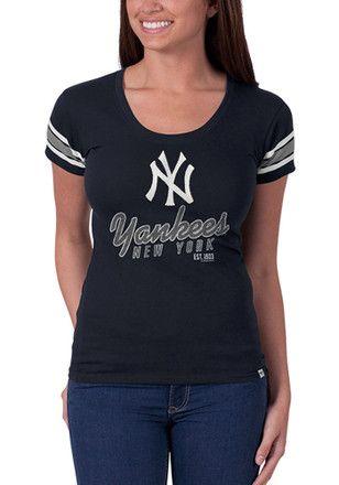 b3cd8aa0af285 '47 New York Yankees Womens Off Campus Scoop Navy Blue Scoop T-Shirt. '