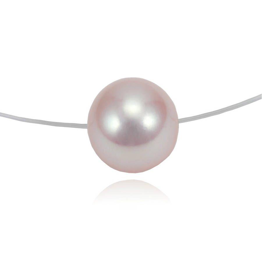 Collier perle de culture grise ou blanche, sur fil de nylon