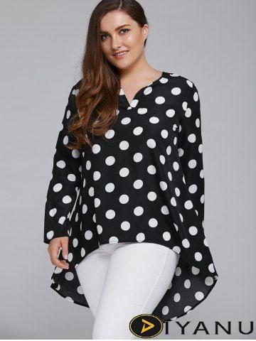 Plus Size Polka Dot High Low Blouse at Diyanu