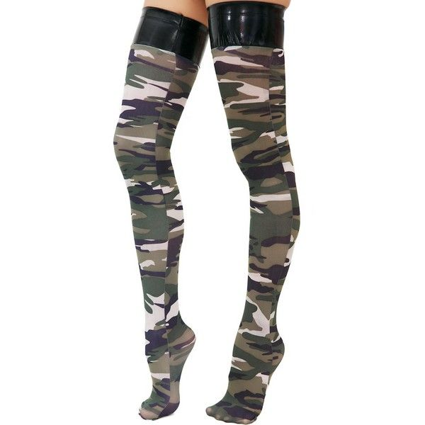 6db6e7c0ad4 Straight Shooter Camo Stockings ( 6.30) ❤ liked on Polyvore featuring  intimates