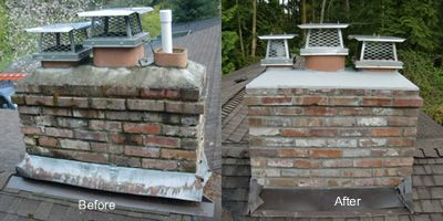 Chimney repair-before and after