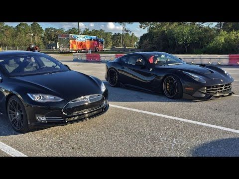 Tesla Model S P85d Vs Ferrari F12 1 4 Mile Drag Racing Ferrari F12 Tesla Model S Hybrid Car