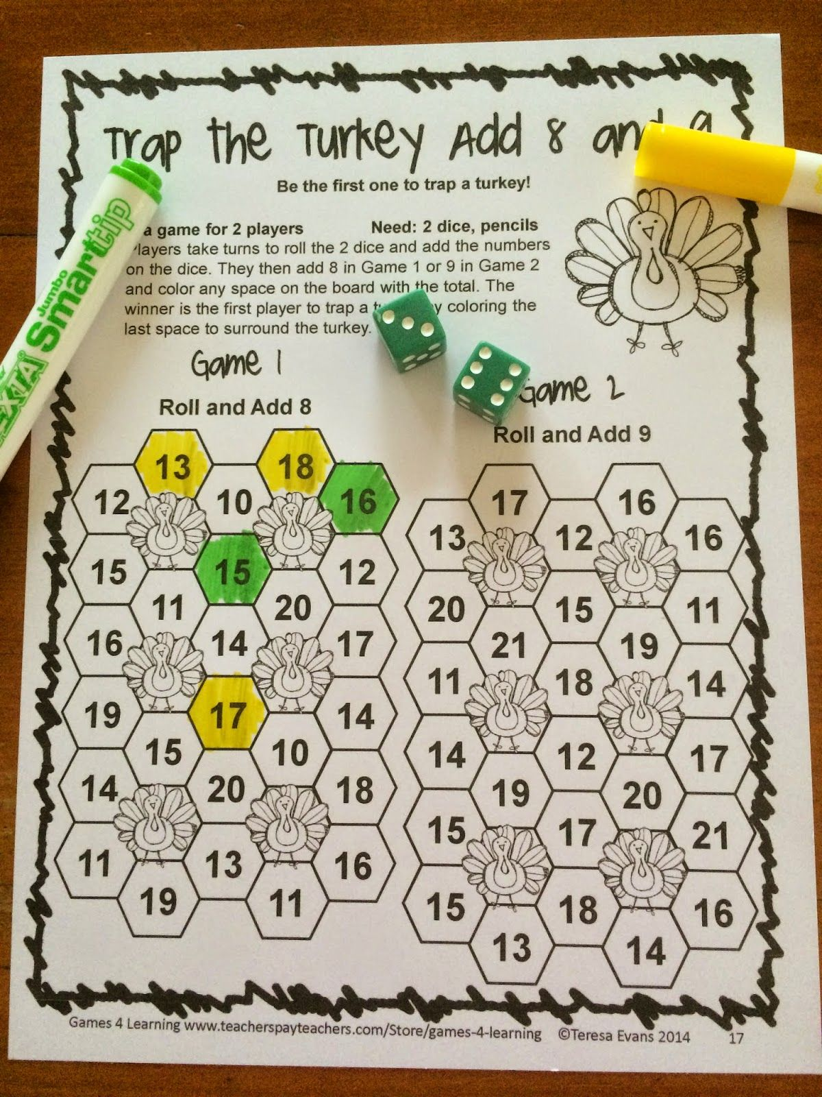 small resolution of NO PREP Thanksgiving Math Games for Second Grade with Turkeys