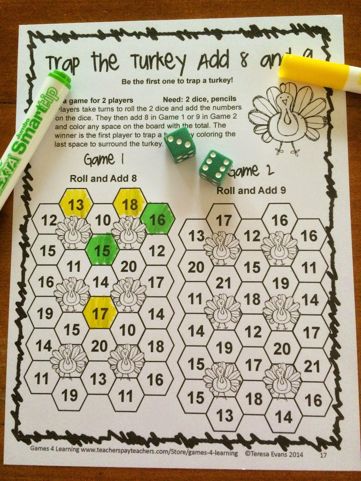 medium resolution of NO PREP Thanksgiving Math Games for Second Grade with Turkeys