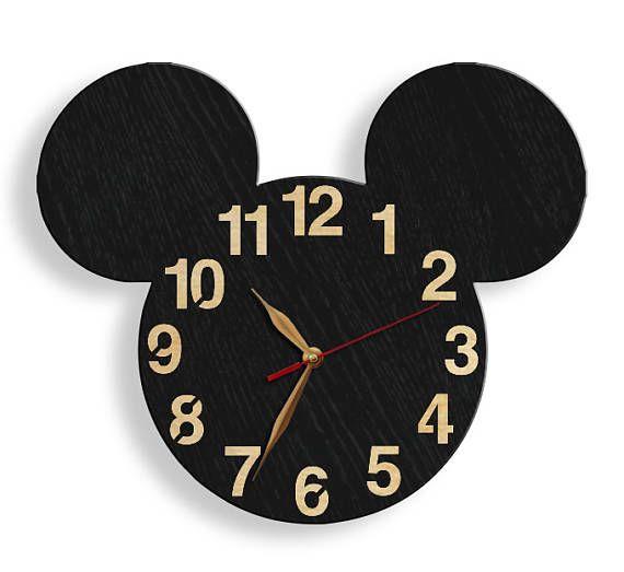 GRAN reloj de pared negro cabeza de Mickey Mouse reloj de | Arte ...