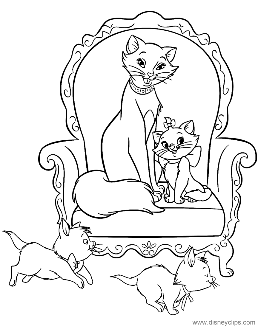 Duchess Marie Berlioz And Toulouse Thearistocats Cat Coloring Book Cartoon Coloring Pages Coloring Books
