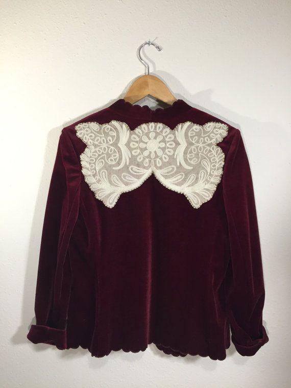 Scalloped Edged Wine Velvet Jacket with by ThriftyDicks on Etsy