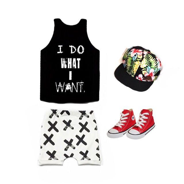 'I DO WHAT I WANT' tank from hausofrome.com @hausofrome harem shorts asherandcrew.com #ootd #kidsfashion #boyworld #girlworld