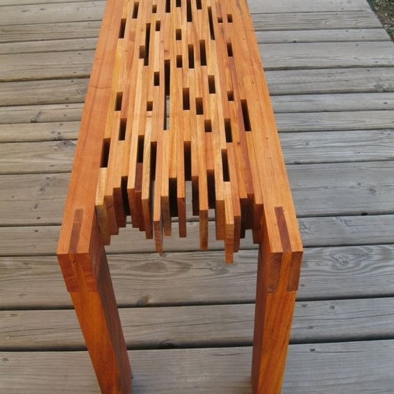 Custom Made Mahogany Slat Bench - I like this garden patio bench, a functional and beautiful design that is made from recycled materials.