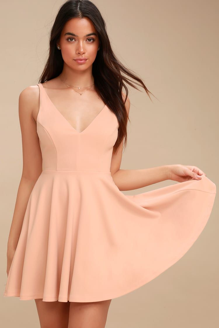 6c45ae72a7d8 Lulus | Darling Delight Blush Skater Dress | Size Large | Pink | 100 ...