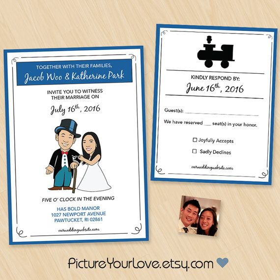 monopoly wedding invitations and rsvps with a cute caricature of