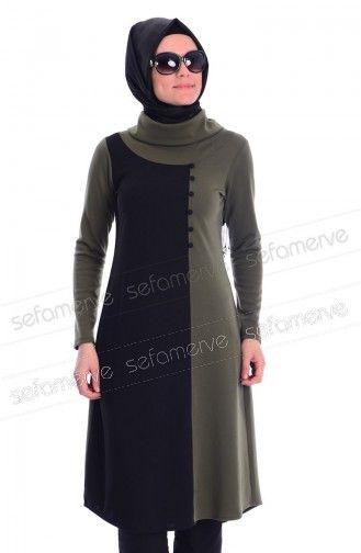 Tesettur Tunik Kombin Wb 4644 03 Haki Yesil Model Pakaian Hijab Model Pakaian Pakaian