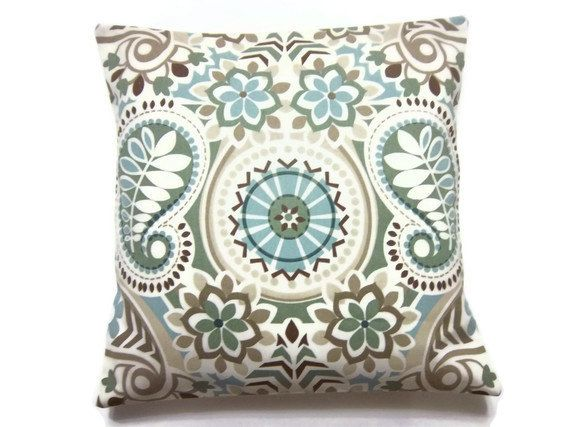 Two Blue Sage Green Taupe Brown Pillow Covers Decorative Handmade Throw Toss Accent Paisley Damask 16 Inch