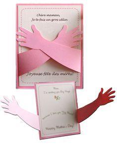 Bricolage Carte De Fête Des Mères En 3d Gratuit A Imprimer Câlin Des Enfants Anneler Günü Elişi Babalar Günü Anneler Günü