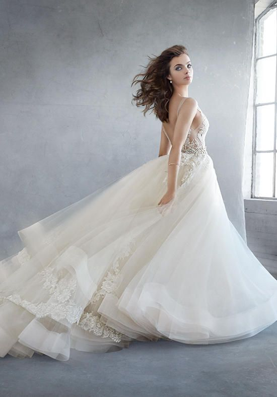 champagne tulle ball gown wedding dress with bateau neckline floral lace motif and beading i
