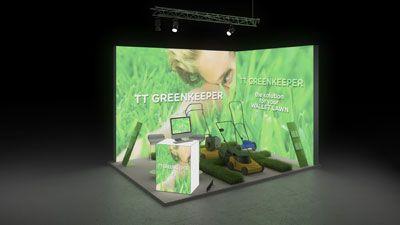 150 Gartengeräte TT Greenkeeper   Ausdrucksstarker Messestand eines Herstellers von Gartengeräten.  Das fotorealistische Rasenmotiv der rahmenlos bedruckten Leuchtwände auf dem  klei...