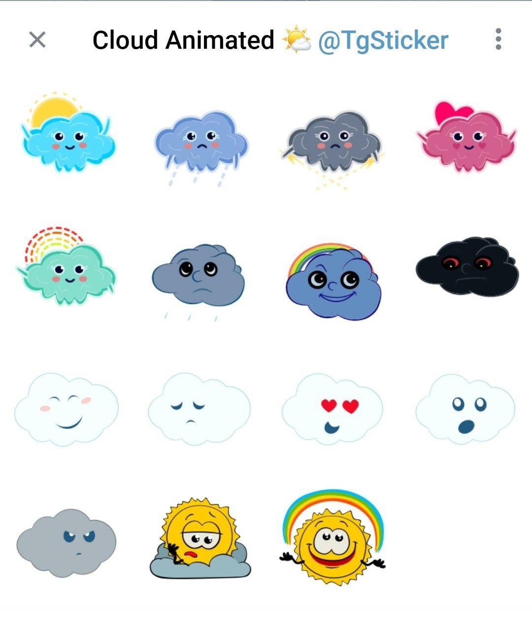 Animated cloud Telegram stickers set   Animation, Telegram ...