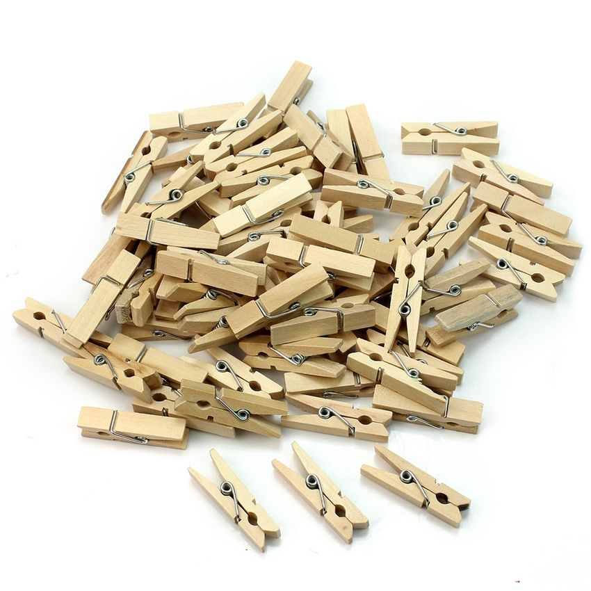 50x Colorful Wooden Photo Paper Peg Clothespin Wedding Craft Sprig Clips
