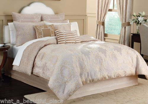 4 Pc Croscill Pearl Queen Comforter Set Champagne Gold Blush Pink Ivory Damask Comforter Sets Classic Bedroom Designer Bedding Sets