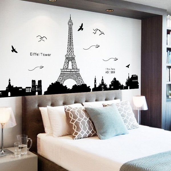 Home Decor Eiffel Tower PVC Removable Wall Stickers Removable wall