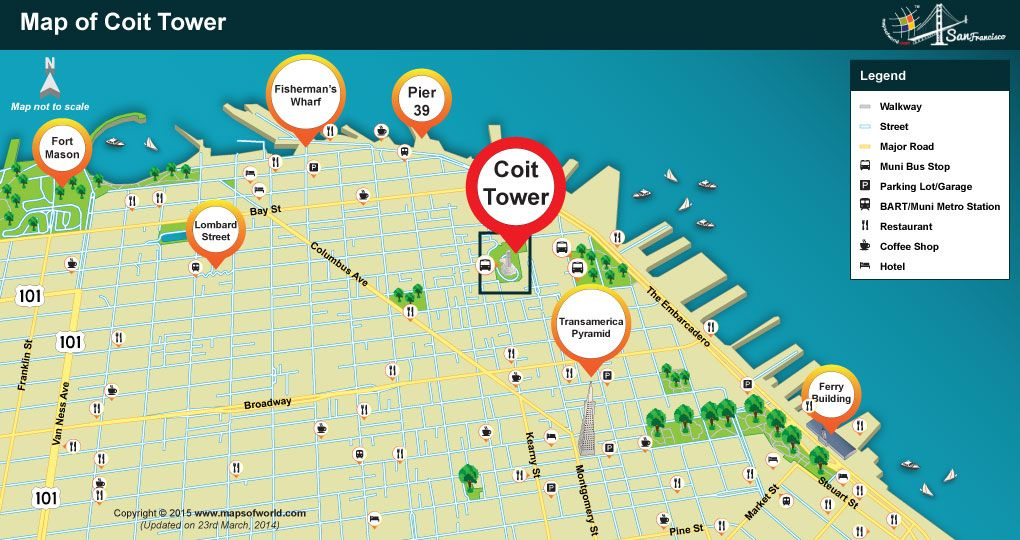 Where is Coit Tower Located in San Francisco Map Tower San