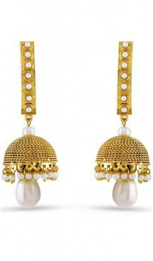Beige and Gold Color Pearls Stone Artificial Jewellery Earring | FH405865627