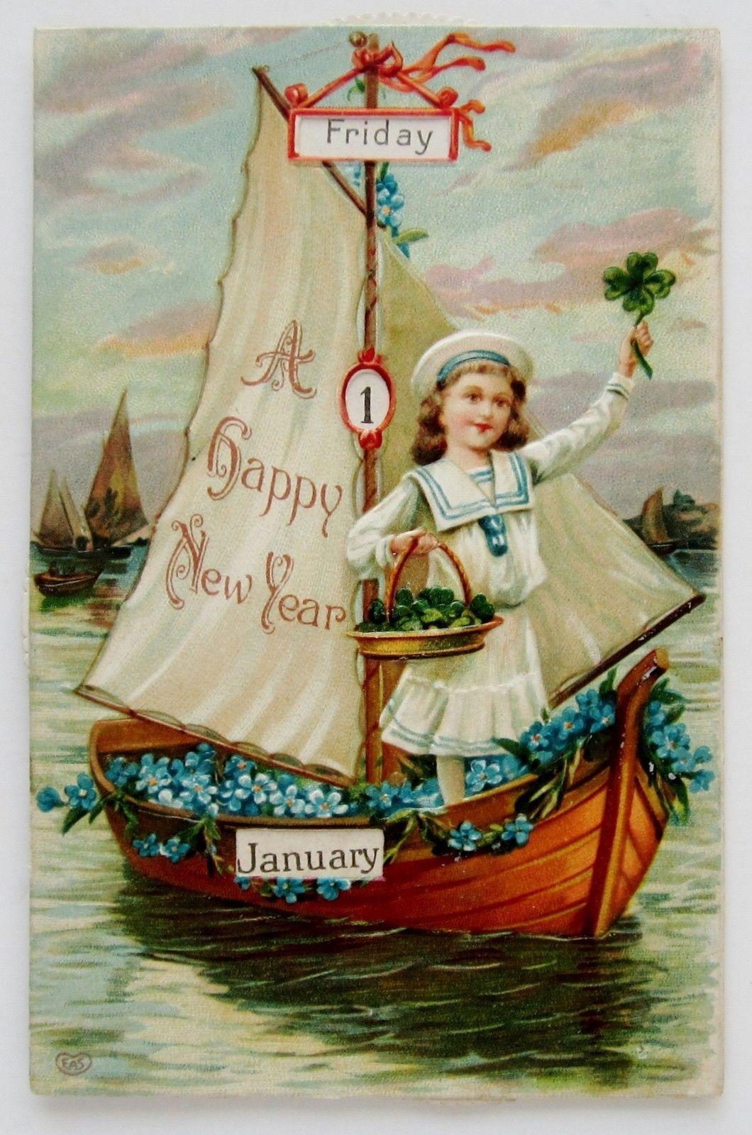 New Year Beautiful Mechanical Eas Postcard Girl In Sailboat Emb New Year Postcard Postcard Vintage Postcards