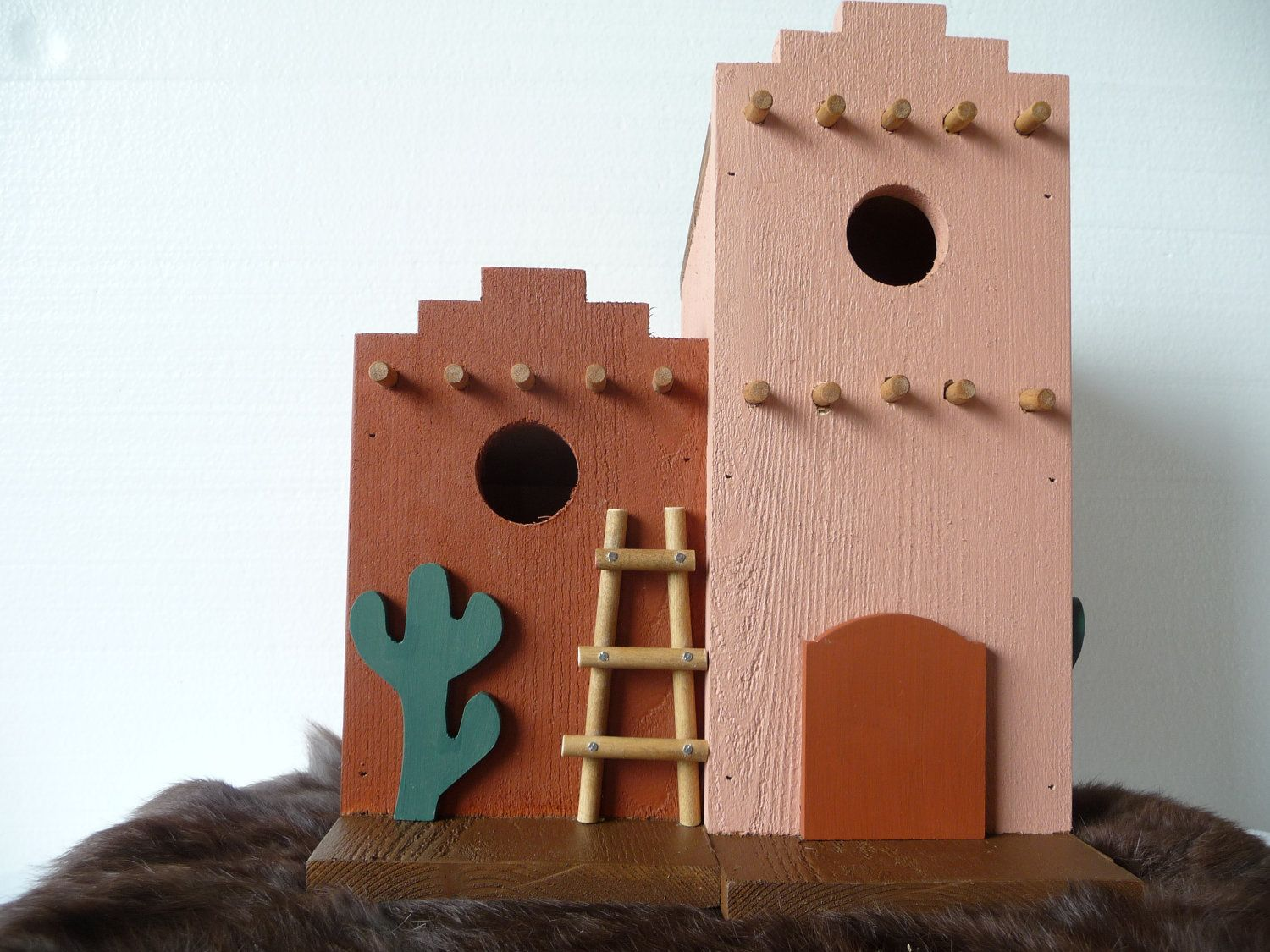 Southwest pink adobe outdoor decorative bird house from for Decorative birds for outside