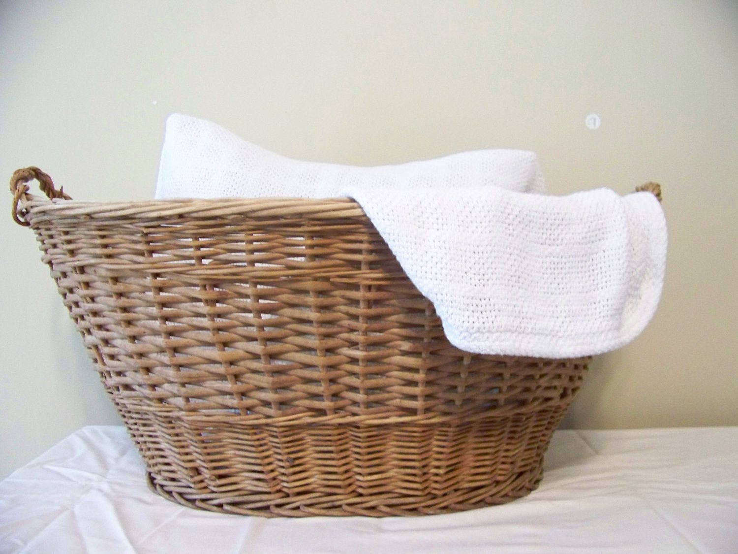 Vintage wooden wicker laundry basket farm fresh woven Laundry