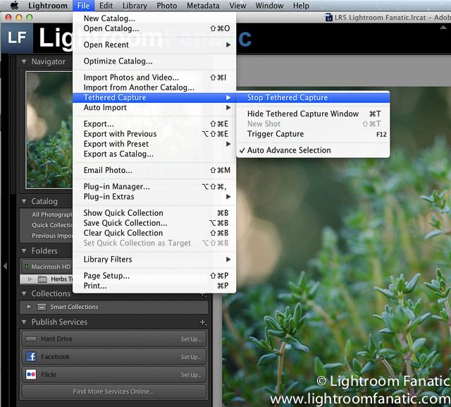 Shooting tethered with lightroom