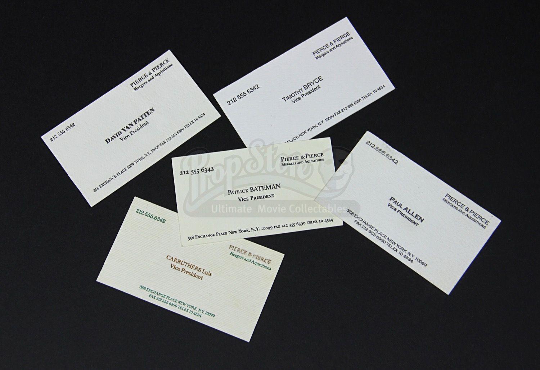 American Psycho 2000 Set Of Prop Pierce Pierce Intended For Paul Allen Business Card Template American Psycho Business Card Inspiration Picture Quotes