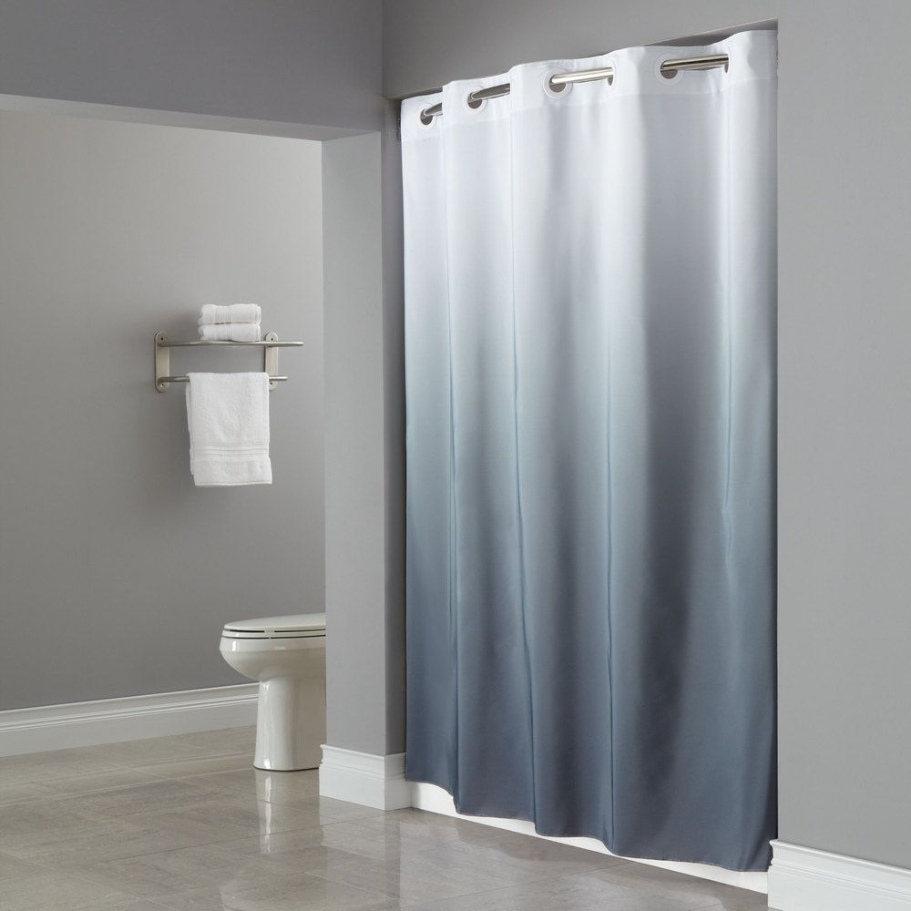 Hookless White Grey The Graduate Shower Curtain With Matching Flat