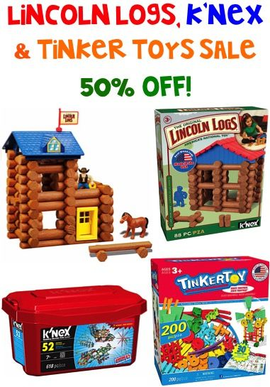 Lincoln Logs, K'Nex, and Tinker Toys Sale: 50% off!!  | TheFrugalGirls.com