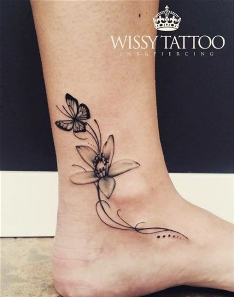 40 Gorgeous And Stunning Ankle Floral Tattoo Ideas For Your Inspiration Women Fashion Lifestyle Blog Shinecoco Com In 2020 Anklet Tattoos Ankle Foot Tattoo Ankle Tattoo Small