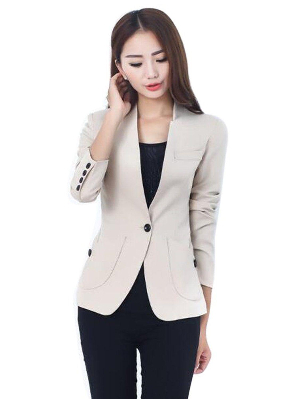 Aro Lora Women S Long Sleeve Solid Slim Casual Suit Jacket Blazer Coat Us 8 10 Beige Casual Suit Jacket Blazer Coat Blazers For Women [ 1500 x 1064 Pixel ]