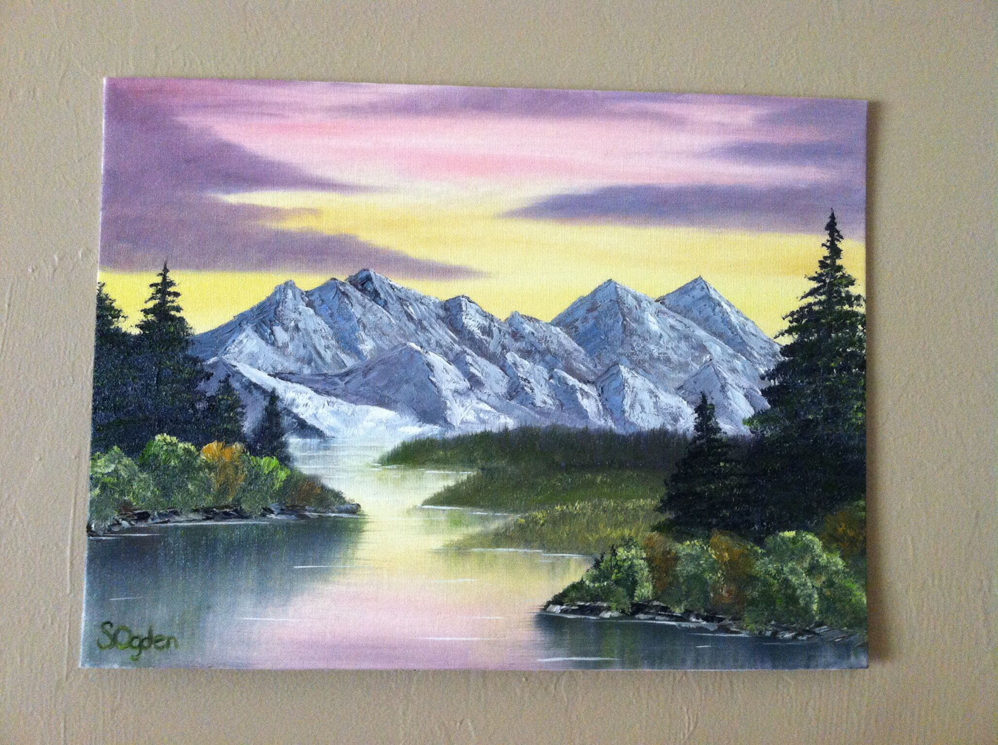 Oil Painting Sunset Over Mountain Stream Landscape Art Painting Mountain Painting Acrylic Mountain Landscape Painting
