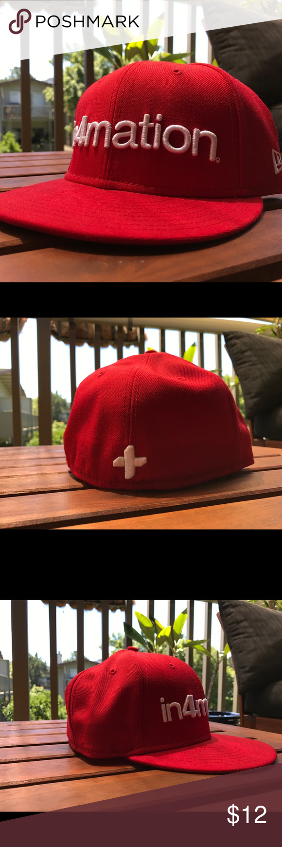 In4mation New Era Fitted Cap Clean and never worn red New Era 59Fifty In4mation fitted. Excellent condition! Accessories Hats