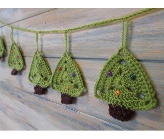 Pdf Pattern Christmas Tree Bunting Christmas Crochet Patterns Crochet Garland Crochet Christmas Trees