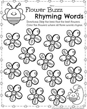 math worksheet : kindergarten math and literacy printables  february  rhyming  : Fun Kindergarten Worksheets