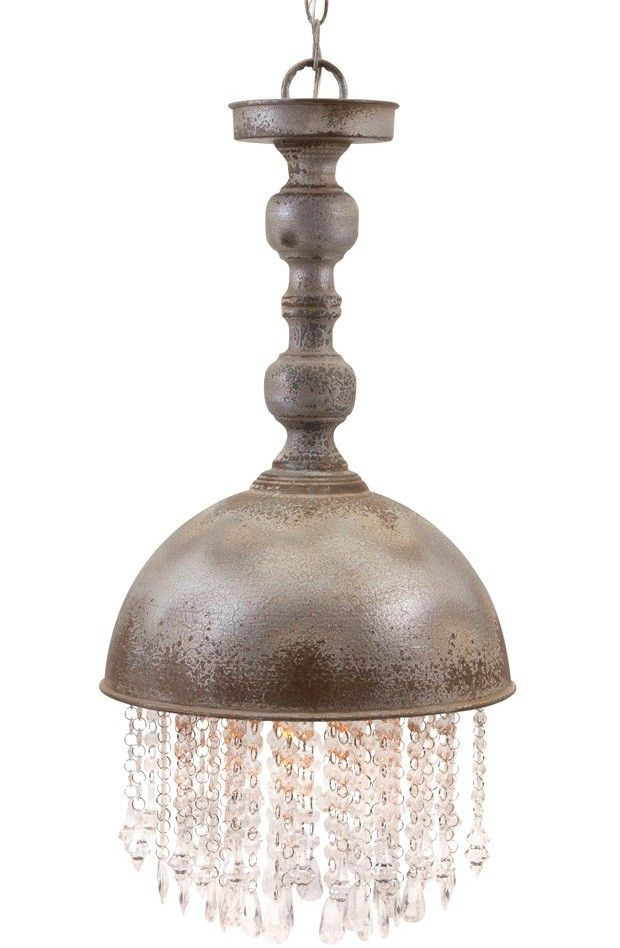 Iron And Crystal Beaded Pendant Light