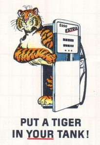 Esso Extra. My dad had an esso station for a while. I used to beg tiger tail key fobs for friends at school