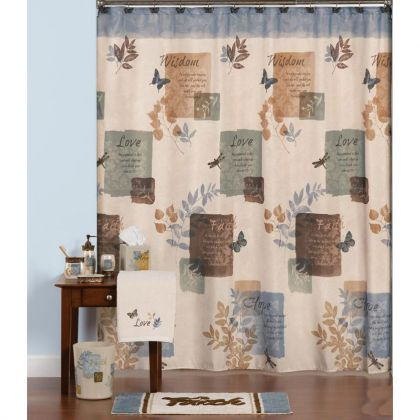 Faith Love Wisdom And Hope Bath Collection From Saturday Knight Primitive Bathrooms Bathroom Decor Blue Shower Curtains