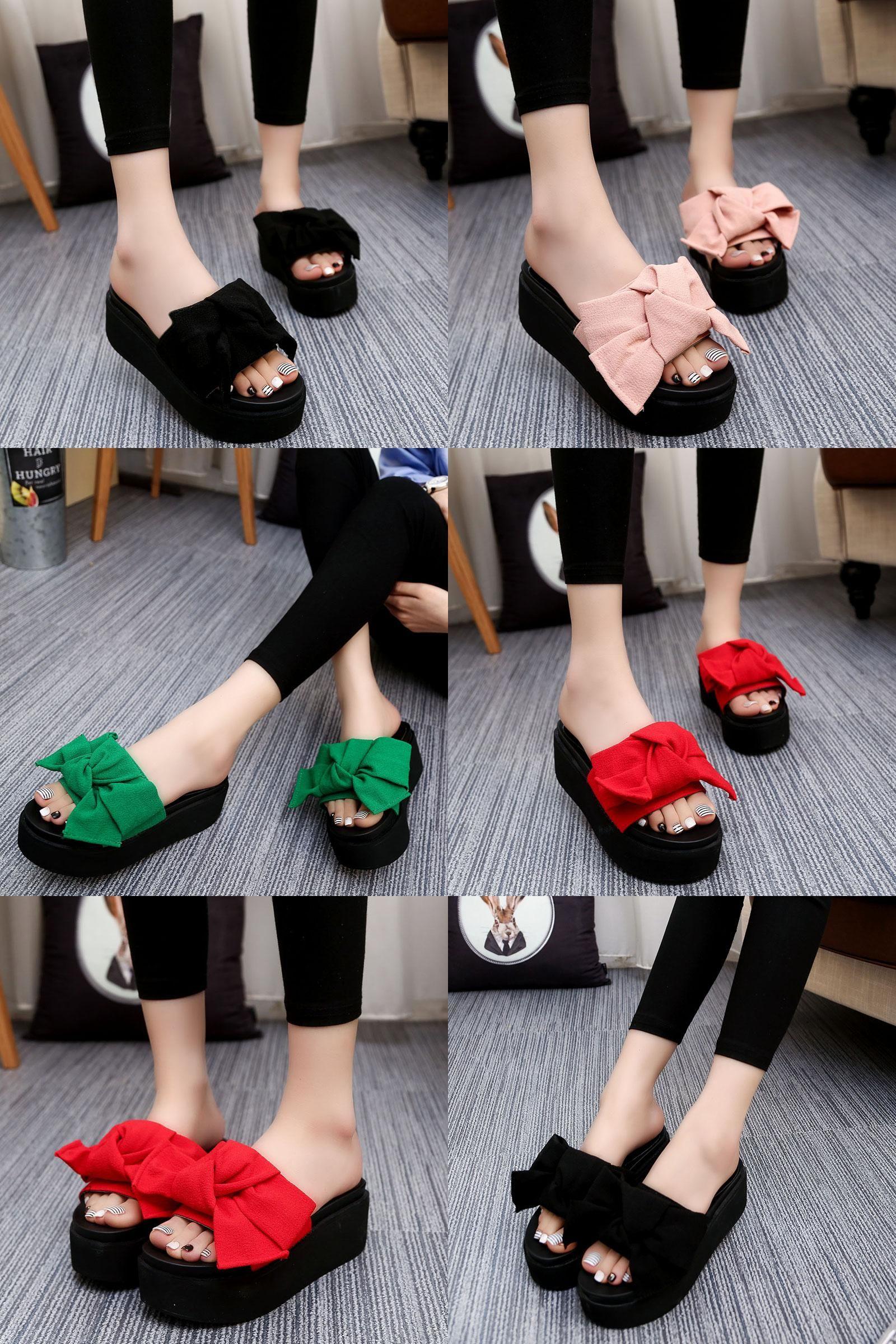 9af1a8755  Visit to Buy  Big Bowtie Woman Beach Flip Flops Summer Sandals Slip-  Resistant