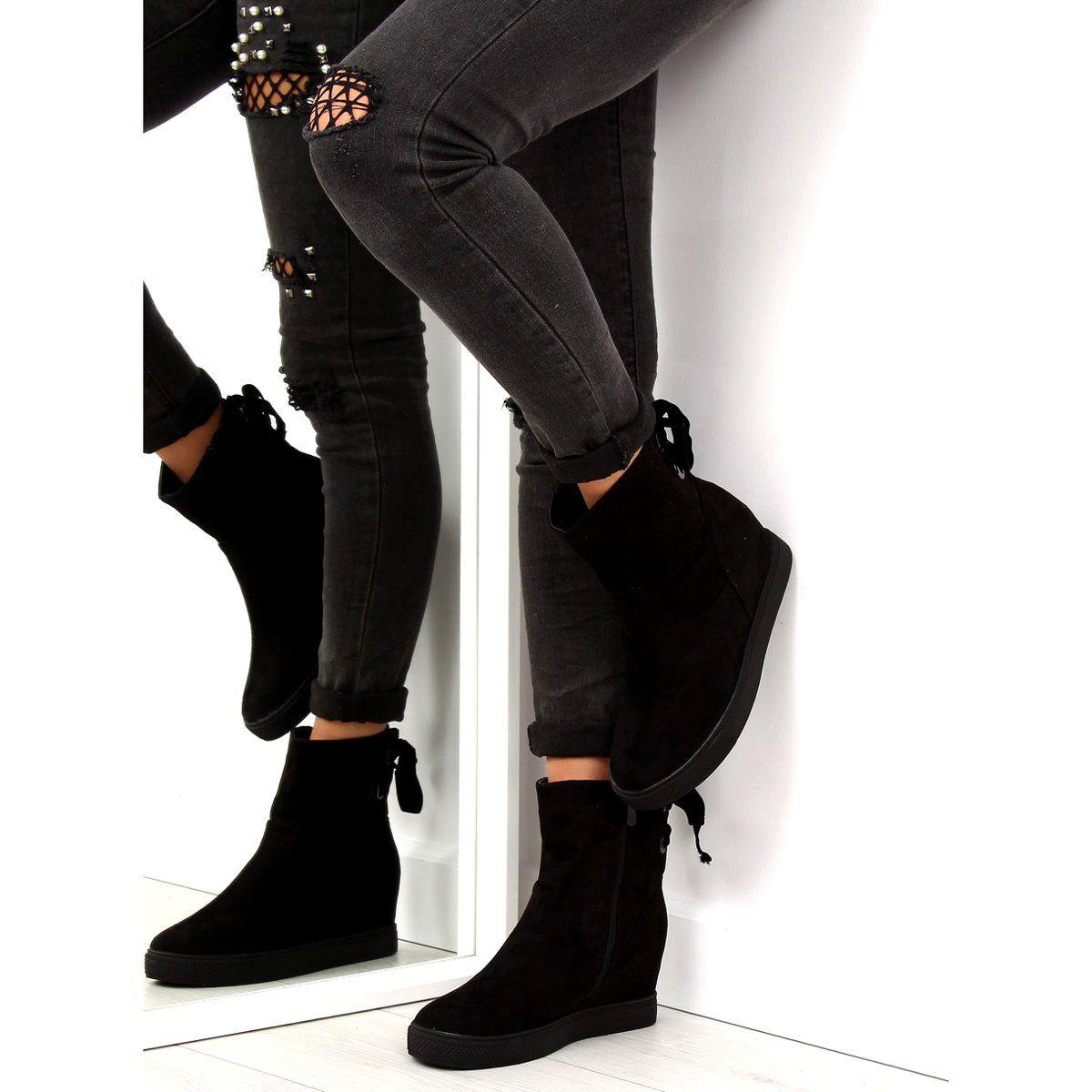 Botki Na Ukrytym Koturnie Czarne Hq886 Black Fashion Stiletto Boot Ankle Boot