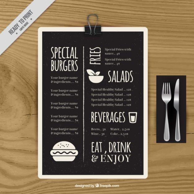modèle de menu spéciale tableau noir Menu, Menu templates and - a la carte menu template