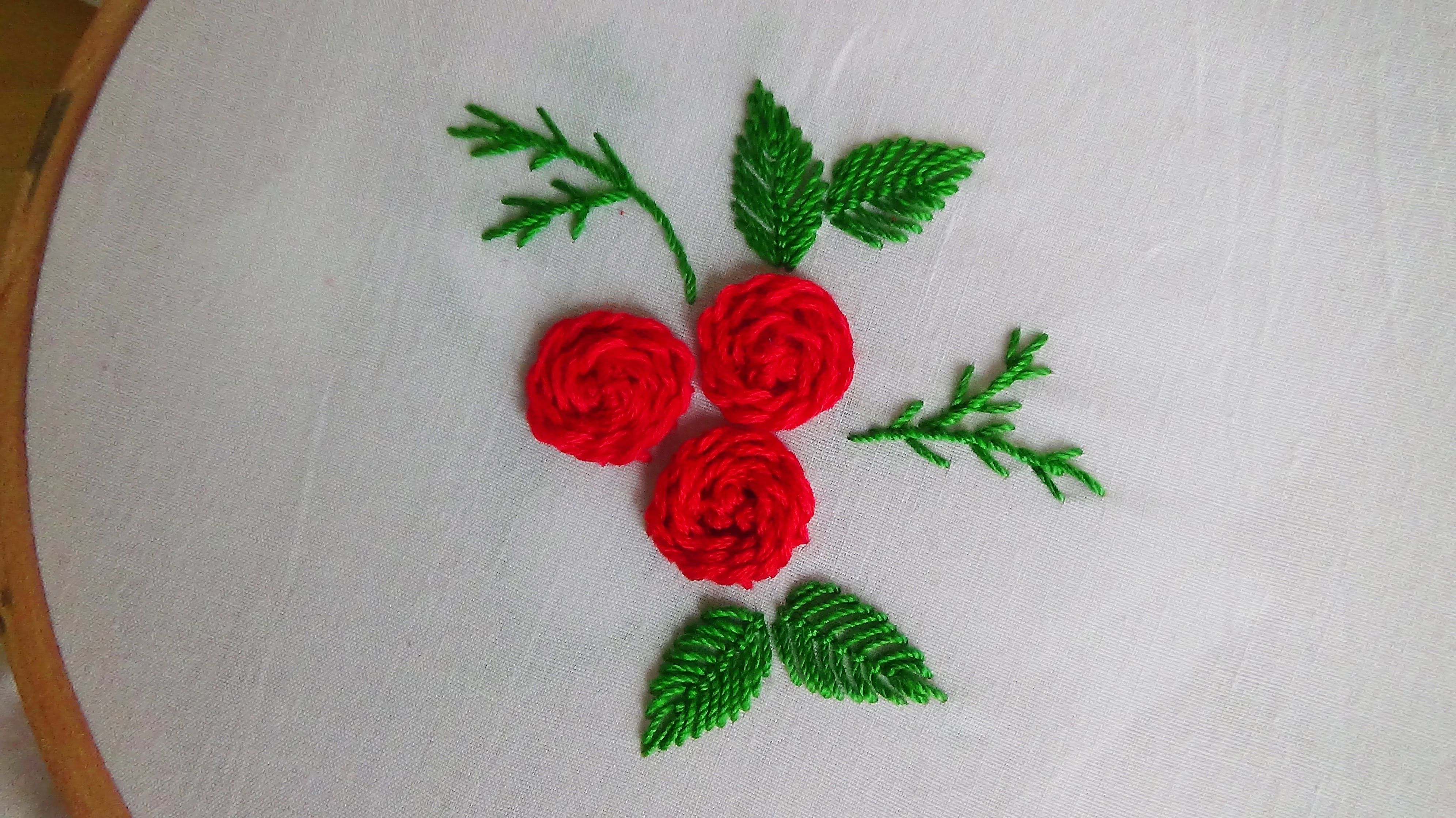 Hand embroidery stem stitch roses embroidery stitches