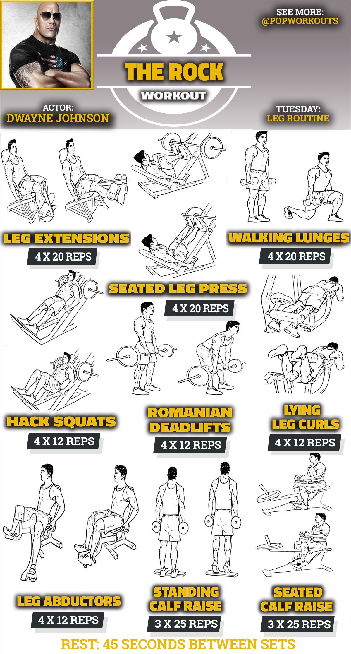 The Rock Legs Workout Routine Fitness Pinterest